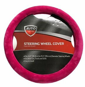Auto Drive Pink Faux Fur Steering Wheel Cover Easy To Install New