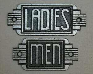 Vintage Style Ladies Men Restroom Signs Cast Iron Gas Station Garage Man Cave 1