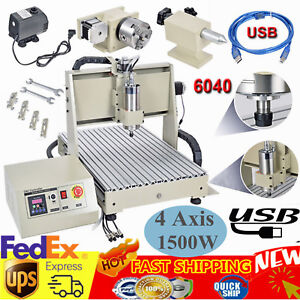 Usb 4 Axis 1 5kw 6040z Cnc Router 3d Engraver Engraving Drilling Milling Machine