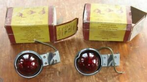 2 Sparton New Vtg Clearance Marker Lamp Light Red Glass Lens Cl 3 Flexible Strap