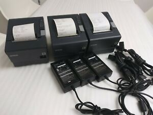Lot Of 3 Epson Tm t88v Pos Receipt Printer Rs 232 W Ac Adapters