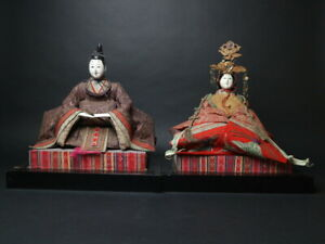 Antique Japanese Imperial Palace Doll Emperor Empress Meiji Period