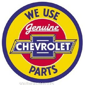 Chevy Geniune Parts 12 Round Vintage Style Metal Signs Oil Gas Pump Garage Dad