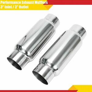 A Pair Of 3 Inlet 3 Outlet Performance Exhaust Mufflers Resonator Universal
