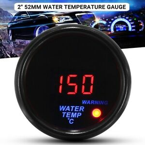 2 52mm Water Temp Gauge Digital Led Temperature Car Auto Universal Meter 12v