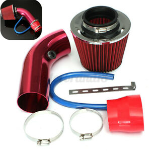 Universal Car Cold Air Intake Filter Red Alumimum Induction Pipe Hose