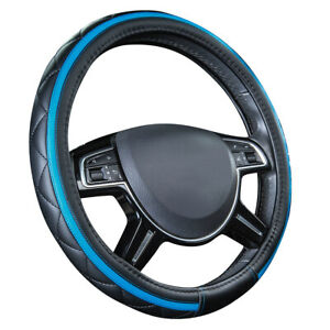 Carpass Car Steering Wheel Cover Blue Diamond Grid Leather Universal Fit Vehicle