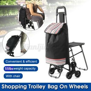 Folding Shopping Trolley Bag On Wheels Foldable Portable Cart Dolly With Stool