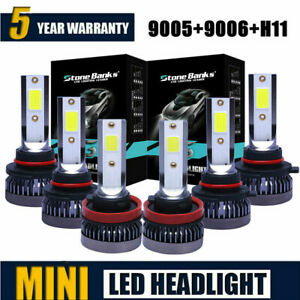 9005 9006 H11 Combo Cob Led Headlight Fog Kits Bulb 6000k White High Low Beam