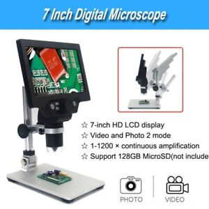 G1200 Digital Microscope 1 1200x Fhd 7 Inch Lcd Video Endoscope Magnifier Camera