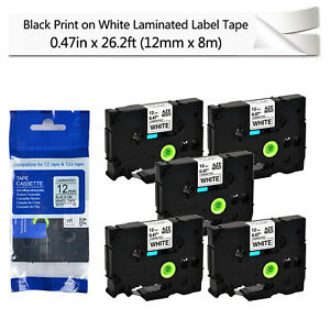 5pk Black On White Label Tape Cassette For Brother Tze 231 Tz 231 P touch 12mm