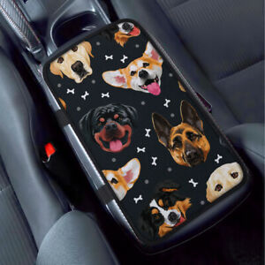 Dog Face Pattern Car Universal Armrest Pad Center Console Cushion Mat Cover
