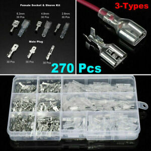 270pcs Insulated Electrical Wire Terminal Assorted Crimp Connector Set Spade Kit