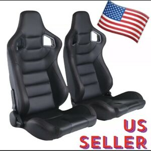 2x Black Red Stitch Pvc Carbon Look Sliders Recline Racing Seats Universal Pair
