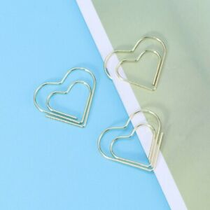10pcs Cute Metal Paper Clips Creative Heart shaped Golden Note Photo Sign Clips