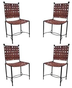 4 Mcm Forged Iron Ball Top Leather Strapped Chairs Mario Papperzini Style