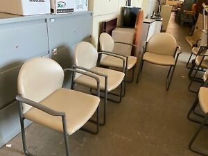 Guest lobby side Sled Base Chair By Kimball Office Furniture In Beige Leather