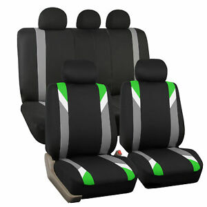 Car Seat Cover Set For Auto Sporty Green W 5 Head Rests