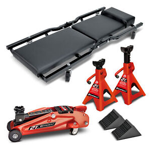 Powerbuilt 6 Piece Car Service Set Floor Jack Jack Stands Creeper 640816
