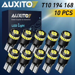 Auxito 10x Led Interior Dome Map Light Bulb T10 194 168 2825 Bright 6000k Canbus