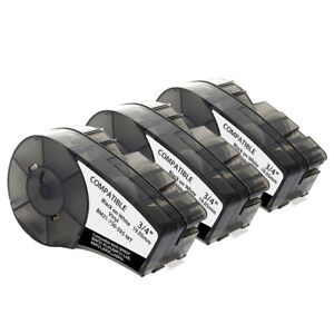 3pk Compatible For Brady M21 750 595 wt Label Cartridge black white 3 4 In W