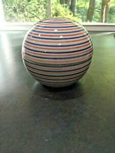 raymor mancer pottery made in italy striped sphere 2 pcs base amp; lid #2771