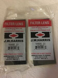 2 Harris Shade 11 Welding Helmet Hood Glass Filter Plate Lens 2 x4 25 1024110