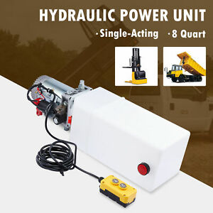 8 Quart 12v Single Acting Hydraulic Pump For Woodsplitter Dump Bed Tow Plow More