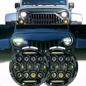 2pcs 7 Inch Round Led Halo Angel Eyes Headlights For Jeep Wrangler Tj lj cj jk