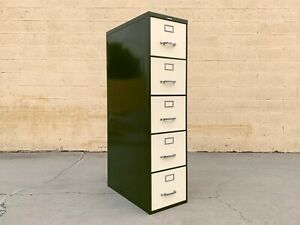 Mid Century Steelcase File Cabinet Refinished In Pearl And Army Green