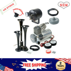 150psi Train Horn Kit With 3 Trumpet 12 Volt Air Compressor Fit For Car Truck