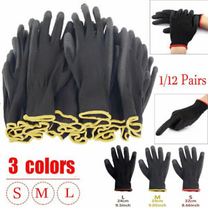 1 12 Pairs Garden Pu Nitrile Coated Work Gloves Safety Builders Grip S m l Lot