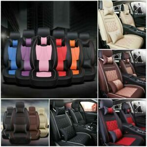 Us Breathable Leather Car Seat Cover Waterproof 5 Seats Truck Full Set Protector