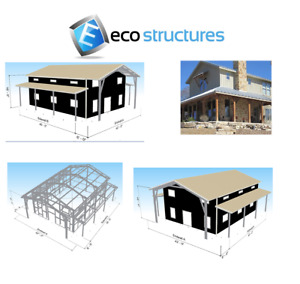 Steel Tall Barndominium Home Kit With Covered Porches On 3 Sides Made In The Usa
