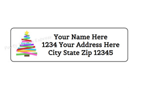 80 Abstract Christmas Tree Personalized Return Address Labels 1 2 In X 1 3 4 In