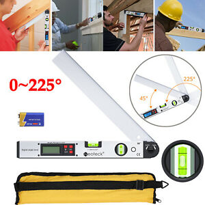 0 225 Lcd Digital Protractor Spirit Level Angle Finder Gauge 16 Goniometer