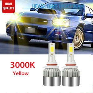 2x Yellow 9005 Led High Beam Headlight Bulbs 3000k For Subaru Impreza Forester