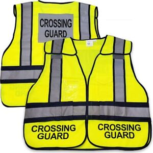 Crossing Guard Mesh Vest School Crosswalk Traffic Road Safety Reflective Green