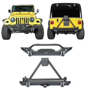 Fit 1997 2006 Wrangler Jeep Tj Texture Front Rear Bumper Bar W Tire Carrier