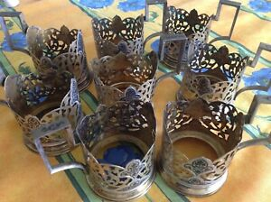 Middle Eastern Antique Silver Copper 8 Cup Holders