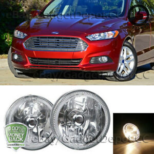 Universal 4 Round Led Clear Lens Fog Light Chrome Housing Cover Lamps W Switch