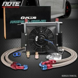 30 Row Universal Engine Transmission 10an Oil Cooler Kit 7 Inch Electric Fan
