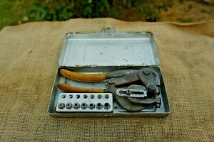 Roper Whitney No 5 Jr Vintage Hand Punch With 8 Dies Metal Case Made In Usa