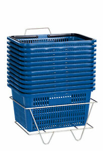 Blue Shopping Baskets With Stand Set Of 12
