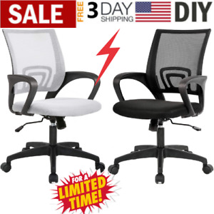 Office Chair Desk With Lumbar Mesh Support Heavy Duty Metal Base Adjustable