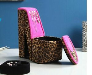 High Heel Shoe Display With Hooks Cheetah Print Jewelry Box