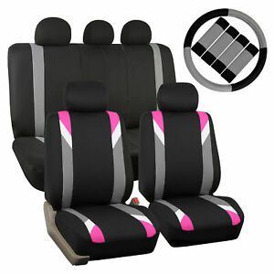 Car Seat Cover Set For Auto Sporty Pink W Steering Wheel Cover belt Pads