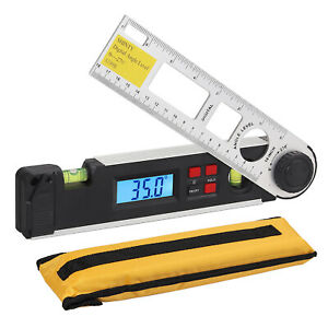 Electronic Digital Lcd Protractor Spirit Level Angle Finder Meter With Battery