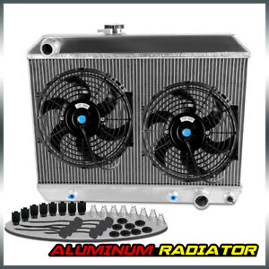 For 1965 1966 1967 Pontiac Gto tempest lemans Short Aluminum Radiator 2 Fan