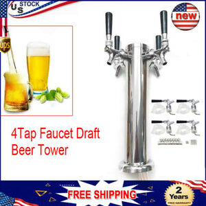 Stainless Steel Four 4 Tap Faucet Draft Beer Tower Homebrew Bar For Kegerator
